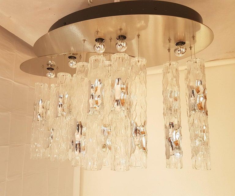 Brushed Large Flush Mount Light, W/Murano Glass, by Av Mazzega, Mid Century Modern 1970s For Sale