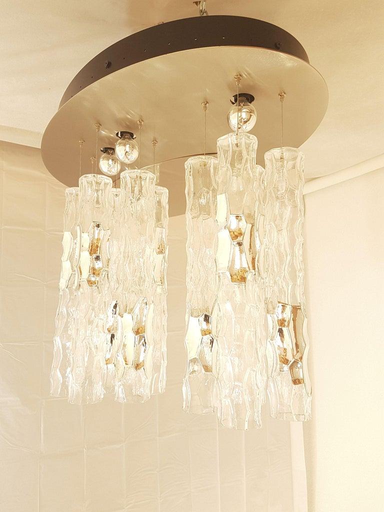 Late 20th Century Large Flush Mount Light, W/Murano Glass, by Av Mazzega, Mid Century Modern 1970s For Sale
