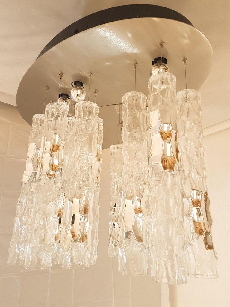 Large Flush Mount Light, W/Murano Glass, by Av Mazzega, Mid Century Modern 1970s For Sale 2