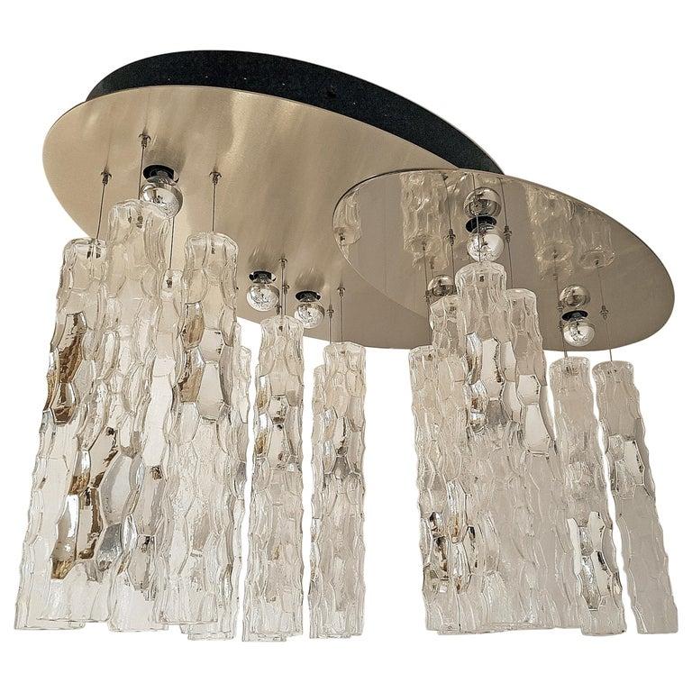Large Flush Mount Light, W/Murano Glass, by Av Mazzega, Mid Century Modern 1970s For Sale