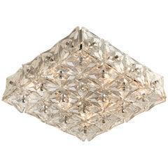 Large Flush Mount Lights by Kinkeldey, Nickel Crystal Glass, 1970