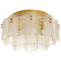 Large Flushmount Lights, Glass Brass, 1970s, 1 of 3