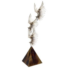 Large Flying Birds Group Metal Sculpture Pyramid Shape Base Curtis Jere