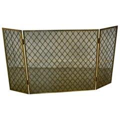 Large Folding Brass Fire Screen