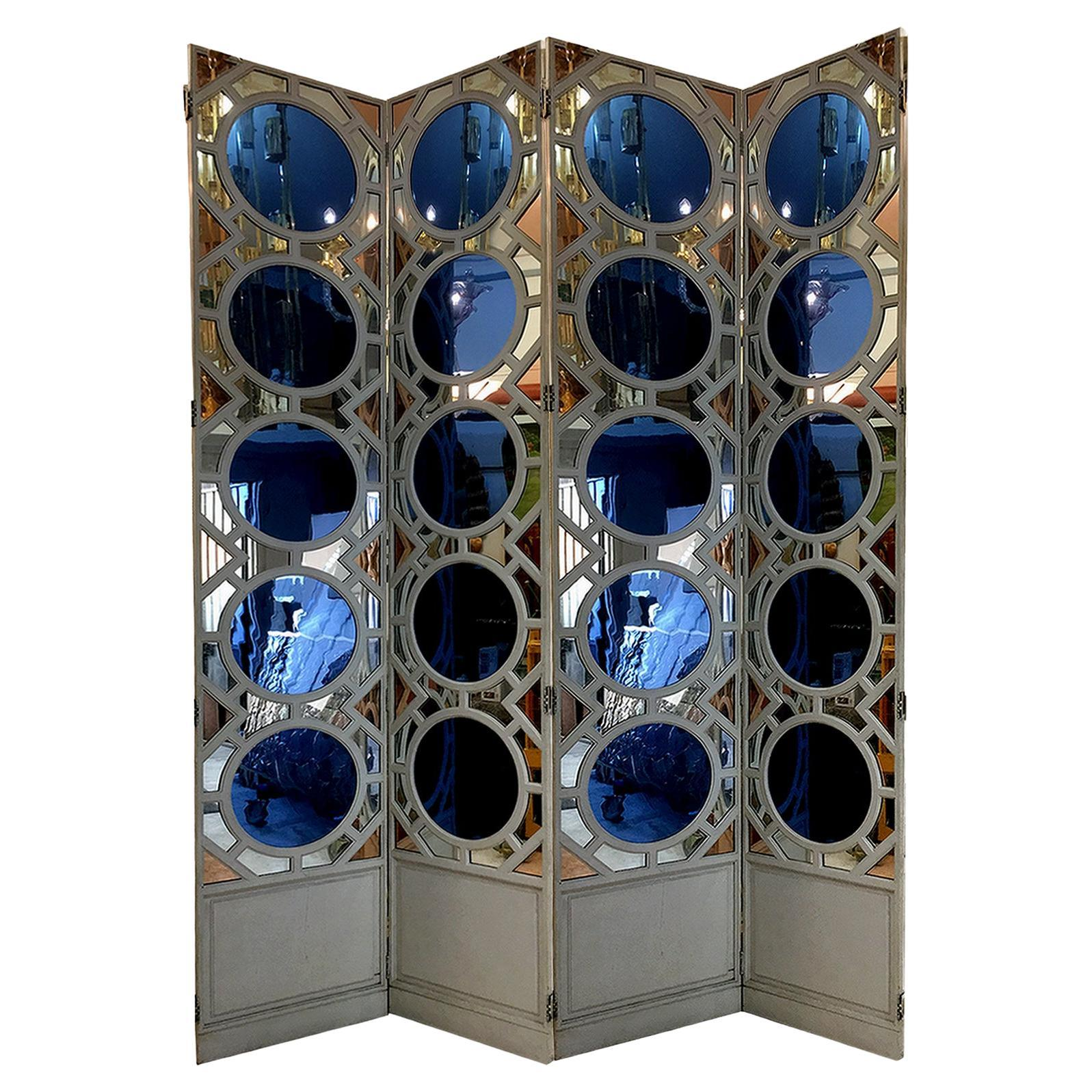 Large Folding Screen in Lacquered Wood and Mirror, France 1970