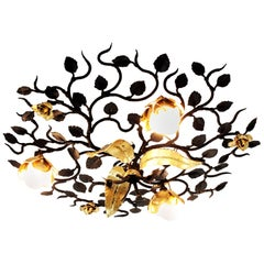 Large Foliage Floral Light Fixture in Black and Gilt Wrought Iron