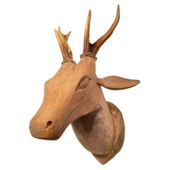 Large Folk Art Carved Wood Deer Head with Real Antlers, 19th Century
