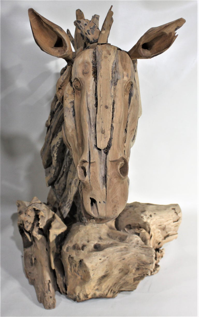 Large Folk Art Driftwood Horse Head Sculpture In Good Condition For Sale In Hamilton, Ontario
