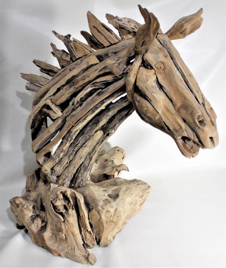 Large Folk Art Driftwood Horse Head Sculpture For Sale 2