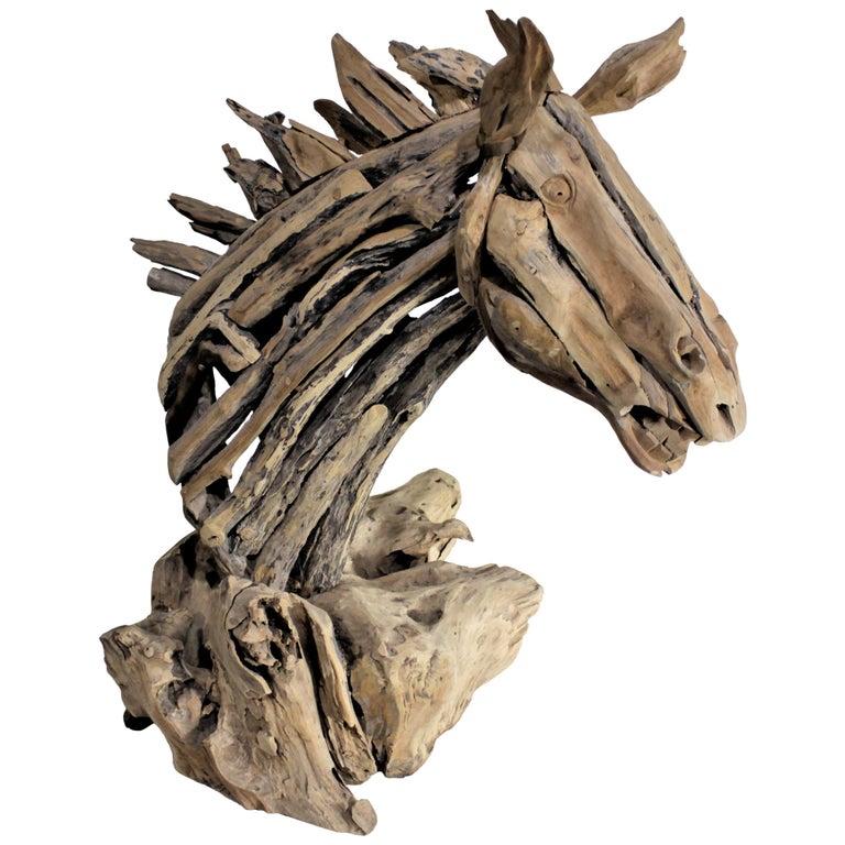 Large Folk Art Driftwood Horse Head Sculpture For Sale