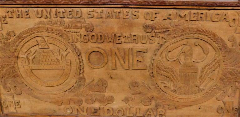 Large Folk Art Hand Carved Wood American Dollar Bill Sign For Sale 5