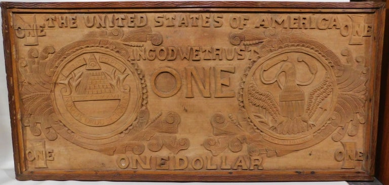 Large Folk Art Hand Carved Wood American Dollar Bill Sign In Good Condition For Sale In Hamilton, Ontario