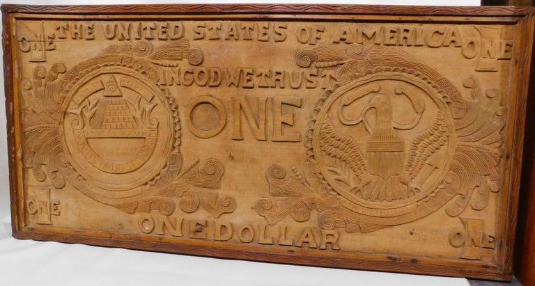 Large Folk Art Hand Carved Wood American Dollar Bill Sign For Sale 1