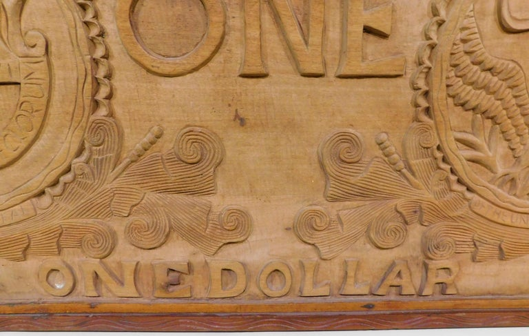 Large Folk Art Hand Carved Wood American Dollar Bill Sign For Sale 2