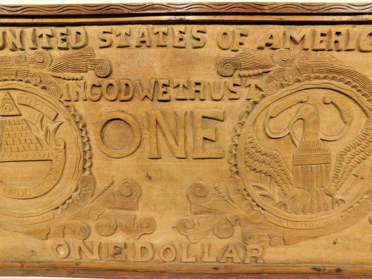 Large Folk Art Hand Carved Wood American Dollar Bill Sign For Sale 3