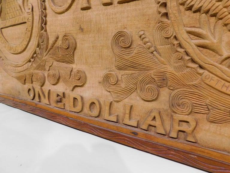 Large Folk Art Hand Carved Wood American Dollar Bill Sign For Sale 4