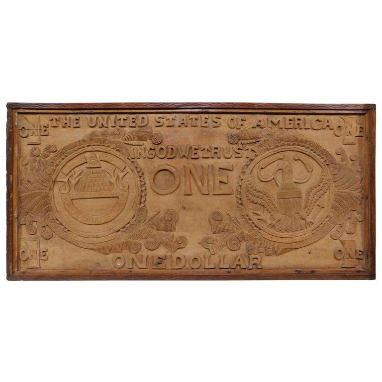 Large Folk Art Hand Carved Wood American Dollar Bill Sign For Sale