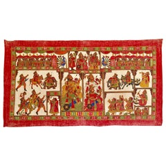 Large Folk Art Phad Hand Painted Khadi Textile Rajasthan