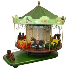 Large Folk Art Wooden Merry-Go-Round Model