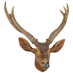 Large Folky Carved Wood Deer Trophy Head