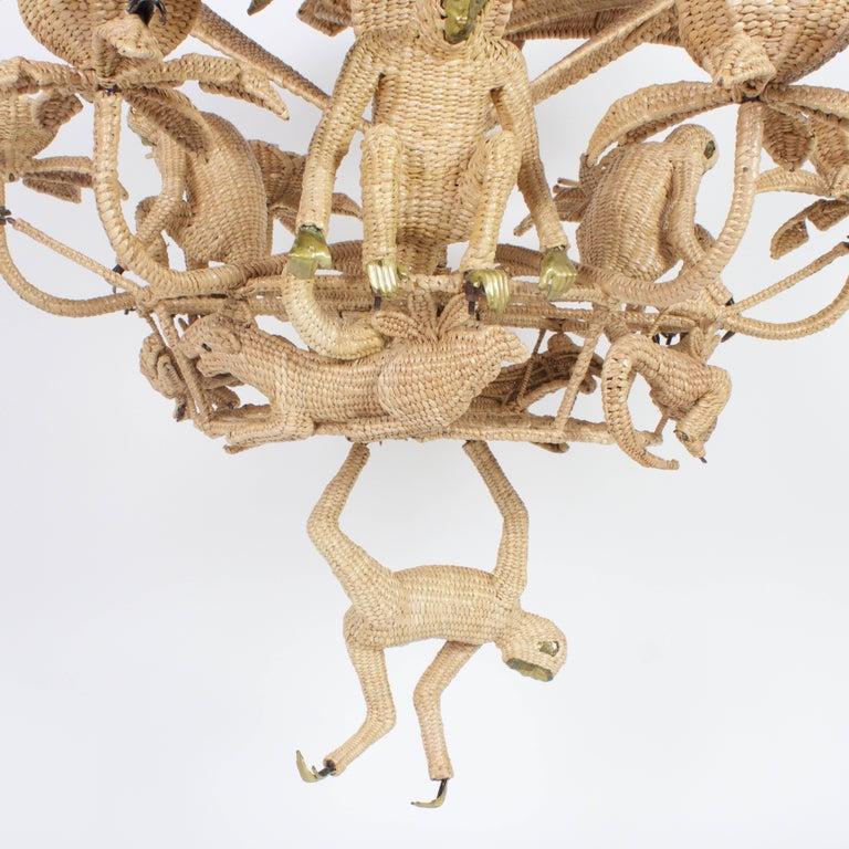 Folk Art Large Folky Mario Lopez Torres Six-Light Jungle Chandelier For Sale