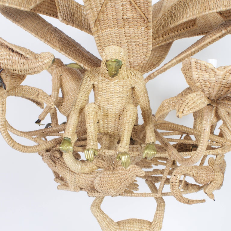 Large Folky Mario Lopez Torres Six-Light Jungle Chandelier In Good Condition For Sale In Palm Beach, FL