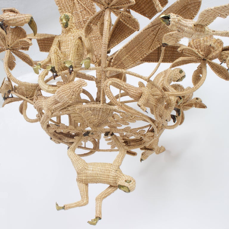 Contemporary Large Folky Mario Lopez Torres Six-Light Jungle Chandelier For Sale