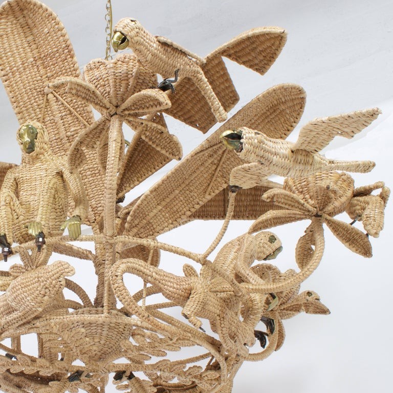 Reed Large Folky Mario Lopez Torres Six-Light Jungle Chandelier For Sale