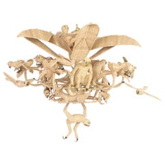Large Folky Mario Lopez Torres Six-Light Jungle Chandelier