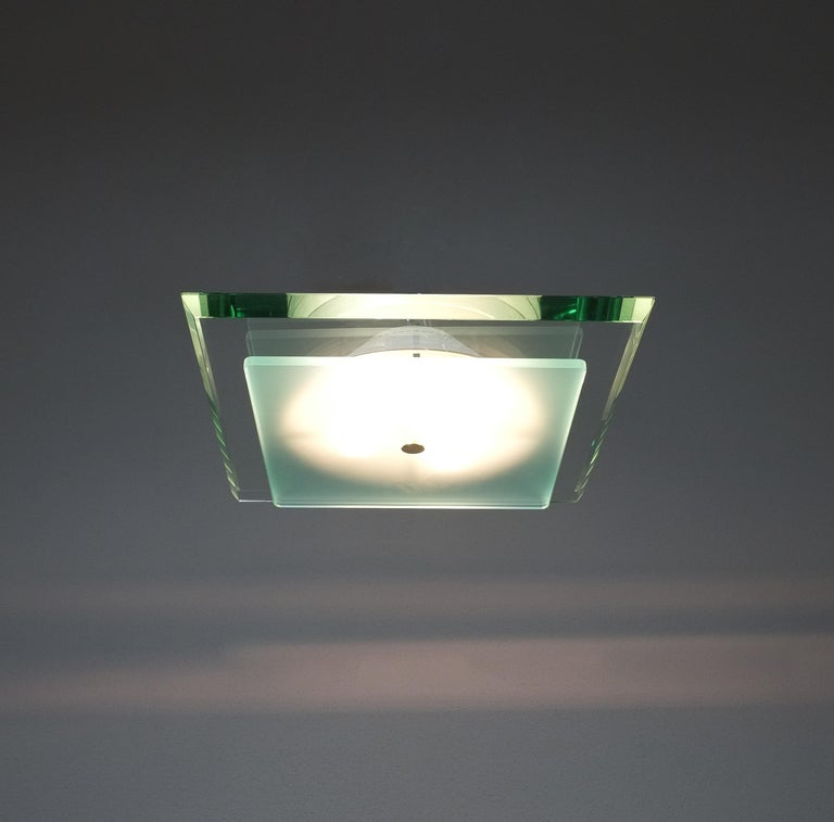 Max Ingrand large Fontana Arte flush mount Model 1990, circa 1960  Rare Max Ingrand semi flush mount lamp for Fontana Arte, 1960. Painted metal, brass, frosted glass, glass. It's in very good restored condition, we have cleaned the lacquered metal