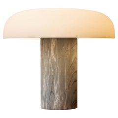 Large Fontana Arte 'Tropico' Gray Marble & Glass Table Lamp by Studio Buratti