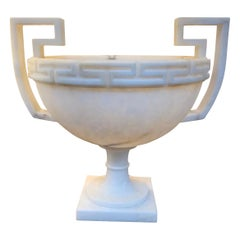 Large Footed Greek Key Motif Alabaster Bowl, Italy, Contemporary