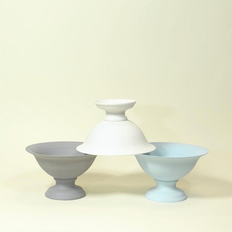 Molded Large Footed Porcelain Vaso Planter in Matte Steel Grey For Sale