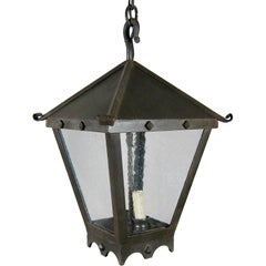 Large Forged Iron Hanging Lantern with Studs
