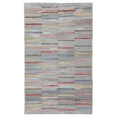 Large Four-Panel Stripe Modern Design Flat-Weave Kilim Rug for Modern Interiors
