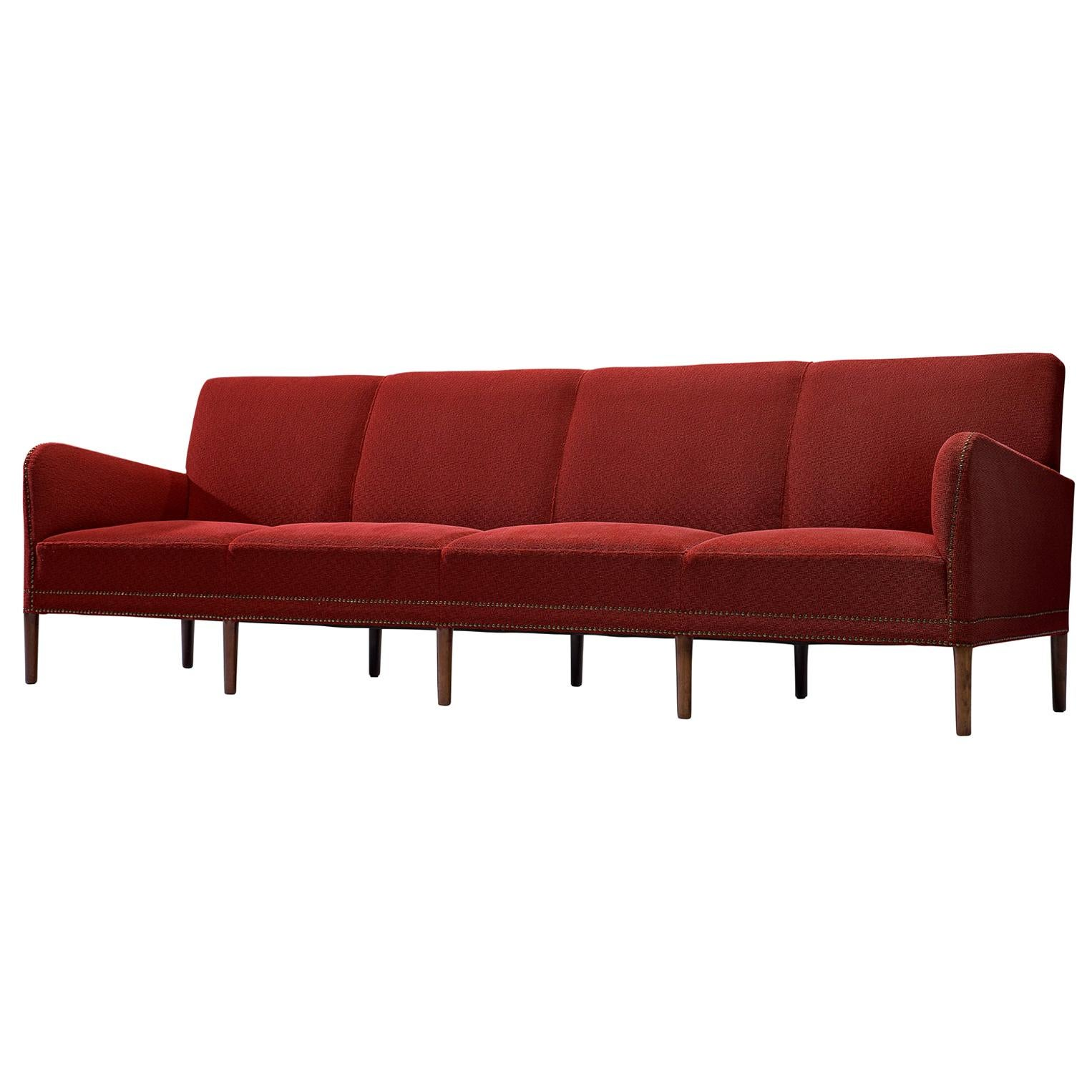 Large Four-Seat Danish Sofa in Red Fabric, 1940s