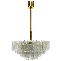 Large Four-Tier Square Glass Tube Chandelier by Doria Leuchten, Germany, 1960s
