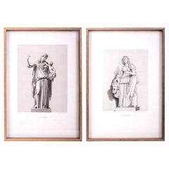 Large Framed 19th Century Classical Engravings