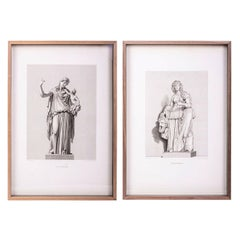 Large Framed 19th Century Engravings of Classical Figures
