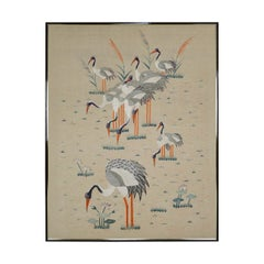 "Large Framed Asian Silk Embroidery Tapestry, ""Cranes"", Art Deco Era, circa 1930"