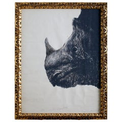 Large Framed Drawing of a Baby Rhino Head