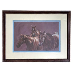 Large Framed Equine Horse Portrait Drawing of Horses in Brown Pencil Pastel