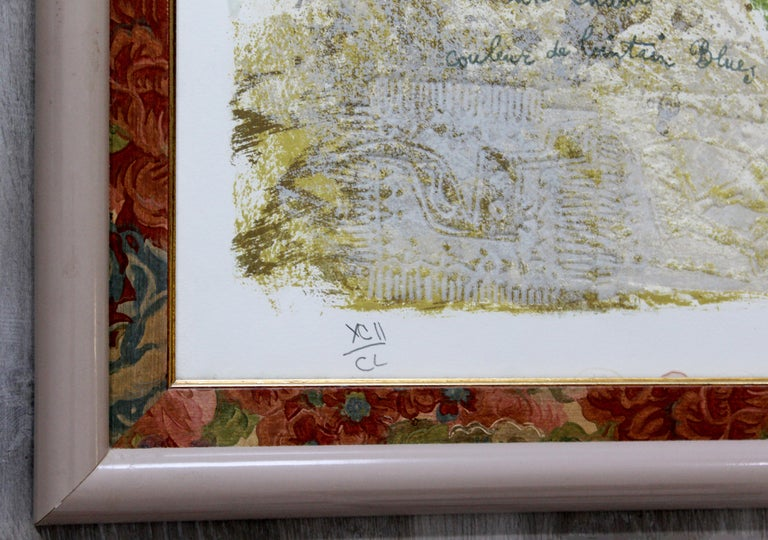 Paper Large Framed French Signed Theo Tobiasse Lithograph I Heart New York 92/150 COA For Sale