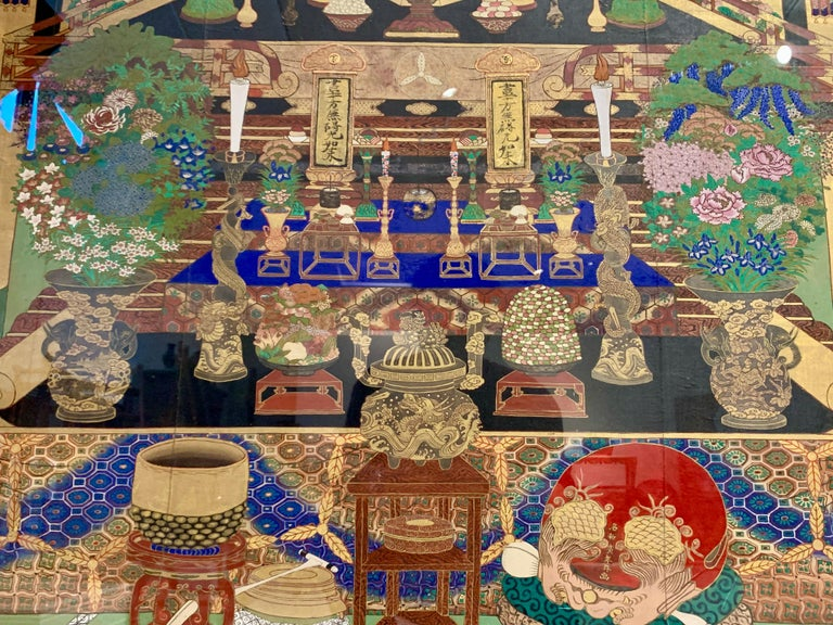 Large Framed Japanese Buddhist Amida Temple Hall Painting, Mid-19th Century For Sale 3