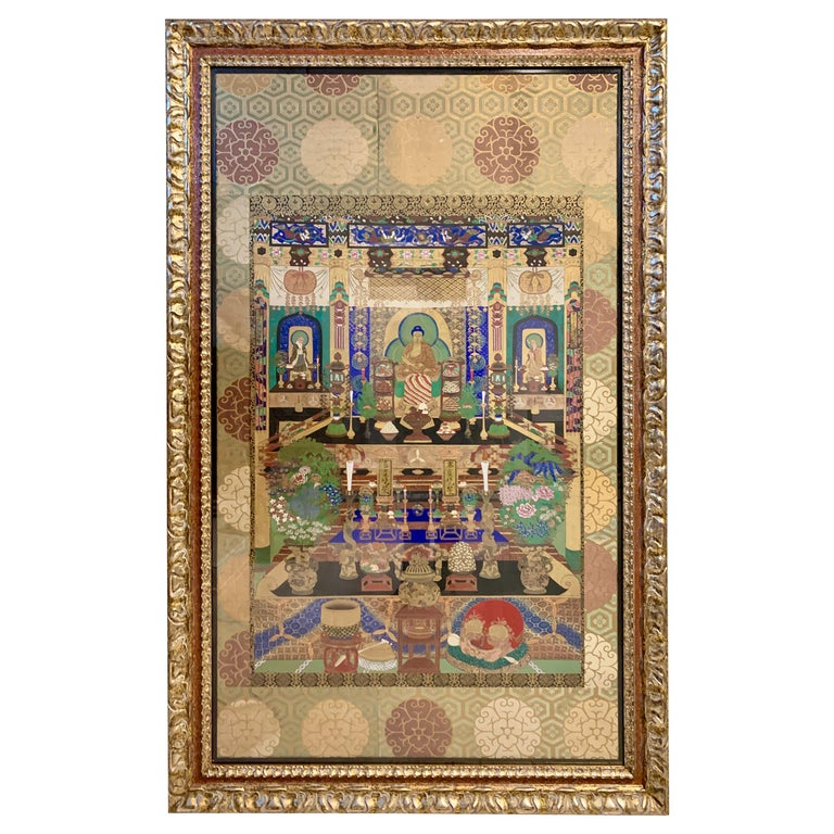 Large Framed Japanese Buddhist Amida Temple Hall Painting, Mid-19th Century For Sale