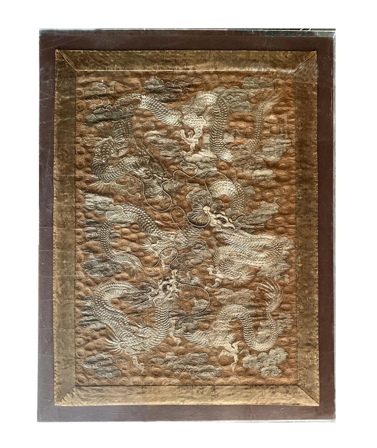 Large Framed Japanese Embroidery Dragon Tapestry For Sale 7