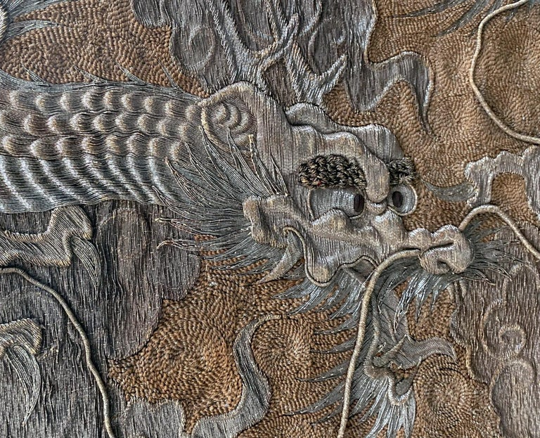 Japonisme Large Framed Japanese Embroidery Dragon Tapestry For Sale