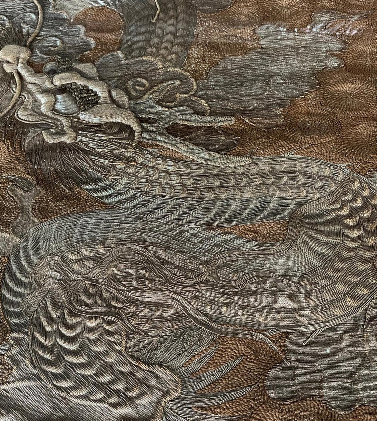 Late 19th Century Large Framed Japanese Embroidery Dragon Tapestry For Sale