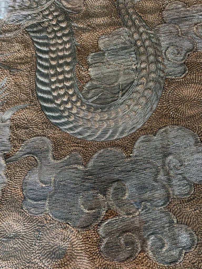 Large Framed Japanese Embroidery Dragon Tapestry For Sale 1