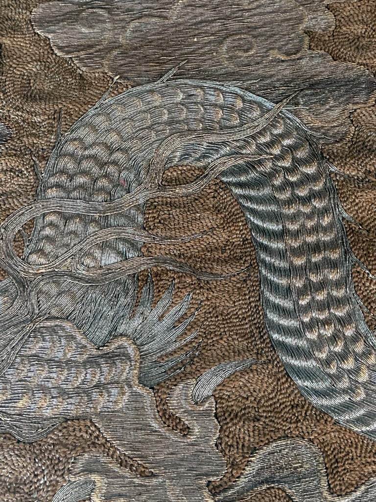 Large Framed Japanese Embroidery Dragon Tapestry For Sale 3